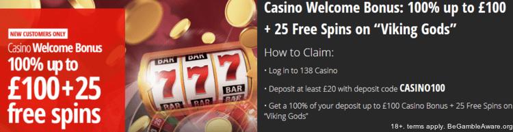 138 casino bonus