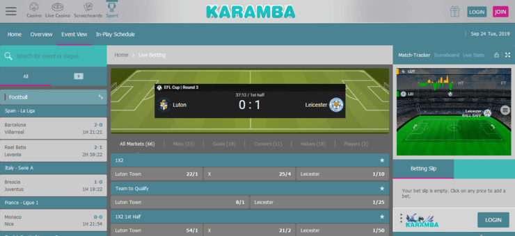 karamba sport in play betting