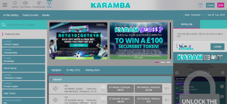 karamba free bet