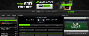 mobilebet in play betting section