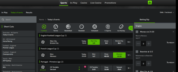 MobileBet online sportsbook section