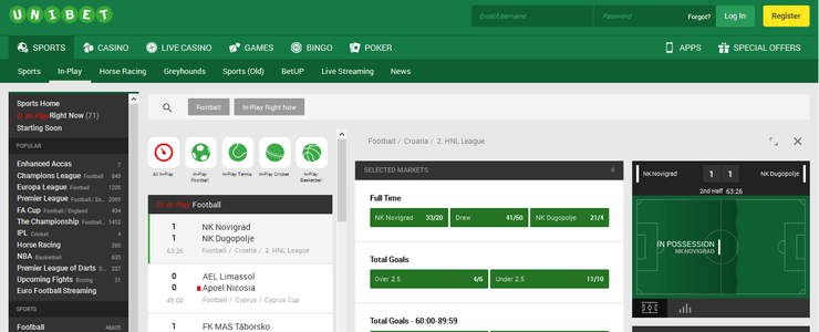 unibet in play betting section