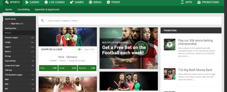 Unibet sportsbook section