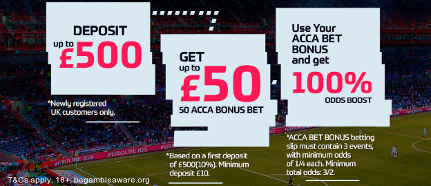 EnergyBet Sportsbook £50 ACCA bonus bet offer UK