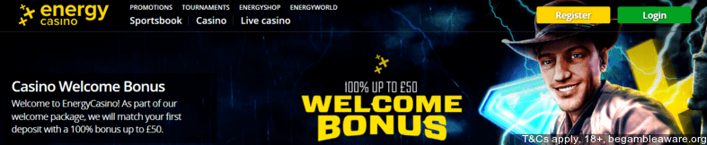Energy Casino £150 welcome bonus