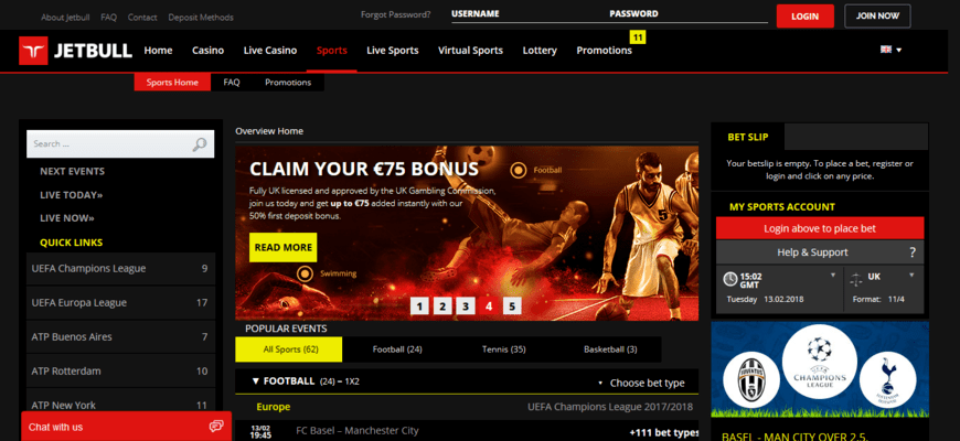 Jetbull sportsbook and casino welcome offers
